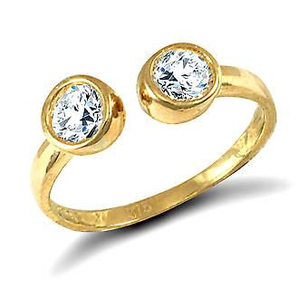 Jewelco London Ladies Solid 9ct Yellow Gold White Round Brilliant Cubic Zirconia Torque Toe Ring