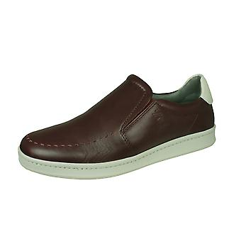 Sledgers Geraldo Mens Leather Slip on Trainers / Shoes - Wine
