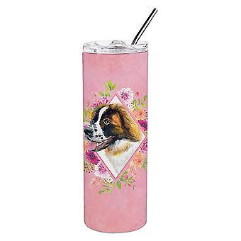 Saint Bernard #2 roze bloemen dubbelwandig RVS 20 oz mager tuimelaar