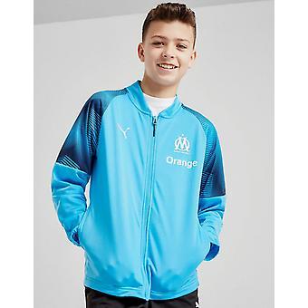New Puma Boys' Olympique Marseille Stadium Full Zip Long Sleeve Jacket Blue