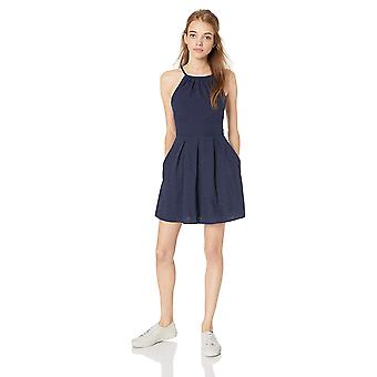 Speechless Junior's High Neck Fit and Flare Dress, Midnight, L