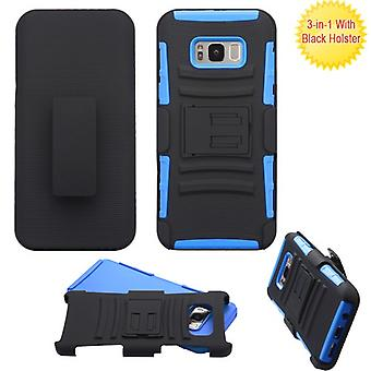 ASMYNA Black/Dark Blue Advanced Armor Stand Protector Cover Combo w/ Holster  for Galaxy S8 Plus