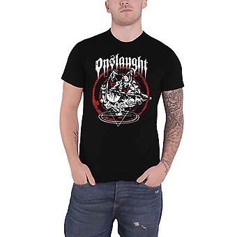 Onslaught T Shirt Power From Hell Band Logo thrash metal new Official Mens Black
