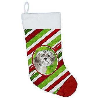 Shih Tzu Puppy Christmas Candy Stripe Christmas Stocking