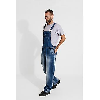 Stevie super loose-fit mens dungarees - faded blue