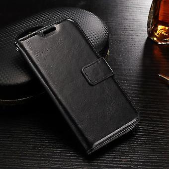 Galaxy S7 edge retro leather wallet case black