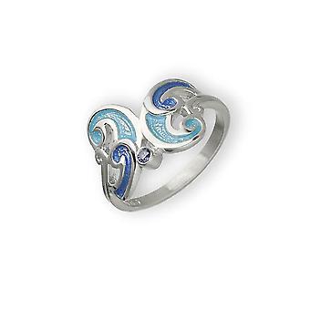 Sterling Silver traditionell skotsk ny Dawn blå emalj handgjorda design ring