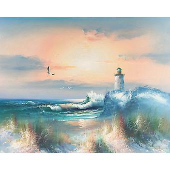 Der Leuchtturm am Meer, handbemaltes Ölgemälde auf Holz, 40x50 cm