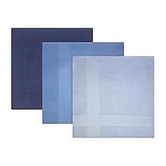 Pack Of 3 Mens/Gentlemens Blue Dyed Handkerchiefs With Satin Stripe Borders, 100% Cotton, 40 x 40cms