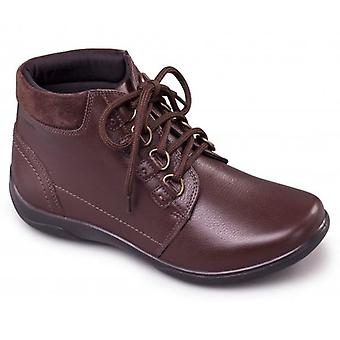Padders Journey Ladies Leather Extra Wide (2e/3e) Boots Brown