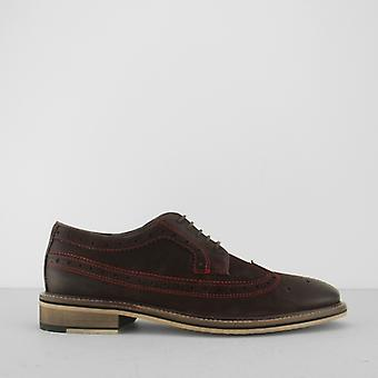 Azor Wendell Mens Contrast Stitch Brogue Shoes Brown