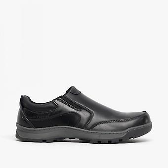 Hush Puppies Jasper Mens Leather Slip On Shoes Black