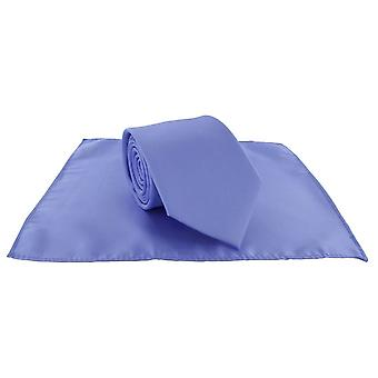 Michelsons av London vanligt Polyester Pocket Square och knyt Set - ljusblå