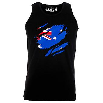 Reality glitch torn australian flag mens vest