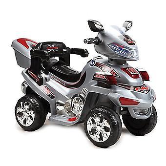 Motocicleta elétrica infantil 6V B021 até 3 km/h com rack de música, luz e bagagem