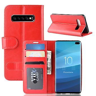 For Samsung Galaxy S10 Plus Case, rød hest tekstur stå flip lommebok deksel