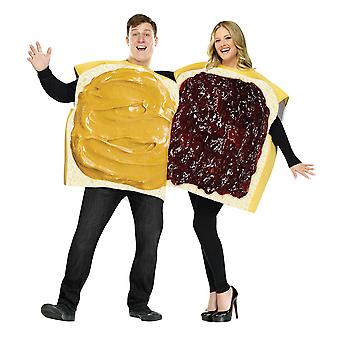 Peanut Butter And Jelly Sandwich Breakfast Food Couples Womens Mens Costume OS