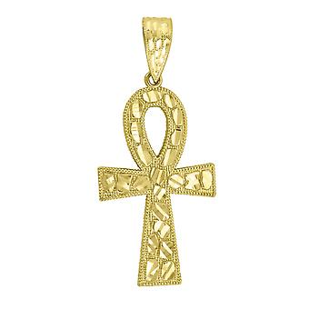 10k Yellow Gold Mens Women Nugget Textured Ankh Cross Religious Charm Pendant Necklace Measures 59.2x25.80m Jewelry Gift