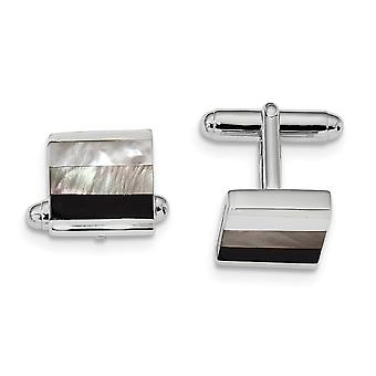 18.5mm 925 Sterling Silver Rhodium plated Simulated Onyx and White Grey Mother of Pearl Cuff Links Jewelry Gifts for Men