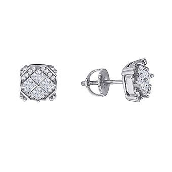 925 Sterling Silver Mens Womens Unisex Round CZ Stud Cluster Square Fashion Earrings Measures 8.3x Jewelry Gifts for Men