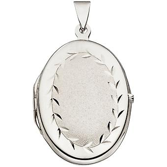 Medallion pendant 925 sterling silver rhodium-plated partially frosted pendant silver