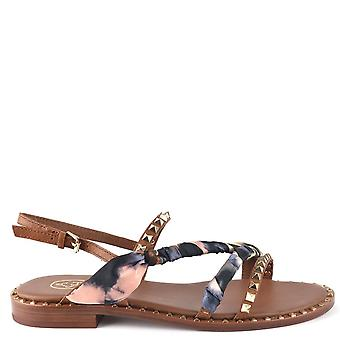 Ash PASHA Sandals Brown Leather & Printed Silk
