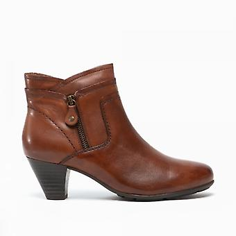 Cipriata Cleo Ladies Leather Side Zip Ankle Boots Tan