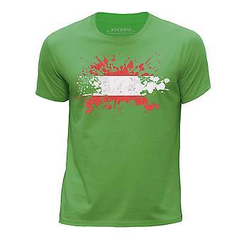 STUFF4 Boy's Round Neck T-Shirt/Austria/Austrian Flag Splat/Green
