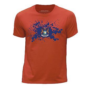 STUFF4 Boy's ronde hals T-T-shirt / / Michigan staat van de USA vlag Splat/oranje