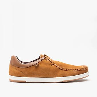 Base Londres Dougie Mens Suede Moccasin Sapatos Conhaque