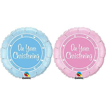 Qualatex 18 Inch Boys/Girls On Your Christening Circular Foil Balloon