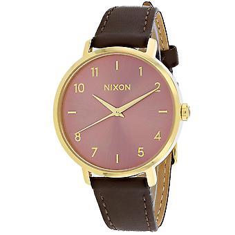 Nixon Mujeres's Flecha cuero rosa oro reloj - A1091-3006