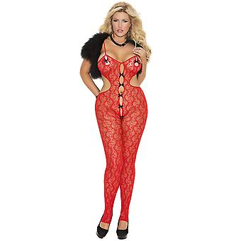 Plus Size Womens Lace Open Crotch Satin Bow Bodystocking Bodysuit Lingerie