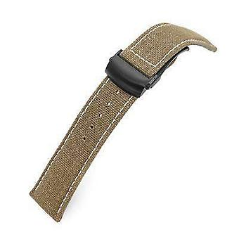 Strapcode fabric watch strap 20mm or 22mm khaki canvas watch band pvd black roller deployant buckle, beige stitching
