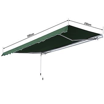 Outsunny 4M x 2.5M Garden Patio Manual Awning Canopy Sun Shade Shelter Retractable Gear Lever Winding Handle Green
