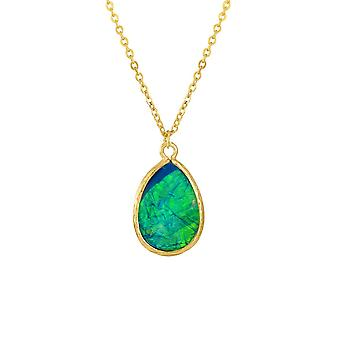 Eternal Collection Serendipity Blue And Green Opalescent Teardrop Gold Tone Pendant