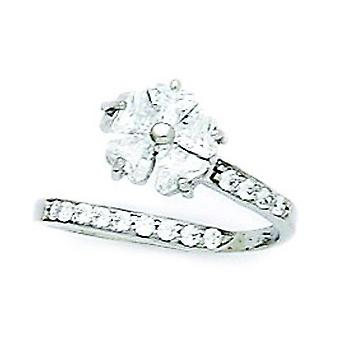 14k White Gold CZ Cubic Zirconia Simulated Diamond Top Adjustable Flowers Body Jewelry Toe Ring Jewelry Gifts for Women