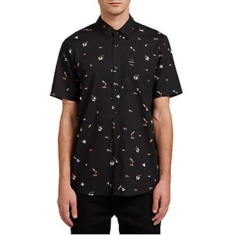 Volcom Party Pieces Short Sleeve Shirt in Black