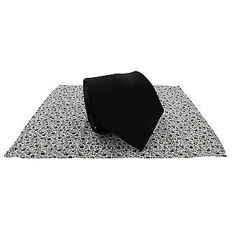 Michelsons Londyn zwykły krawat i kontrast kwiatowy placu kieszeni zestaw - czarny