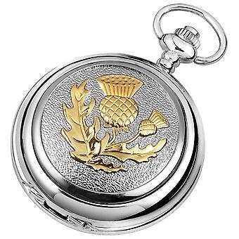 Woodford Celtic Thistle Chrome Plated Full Hunter Quartz Pocket Watch - Silver/Gold