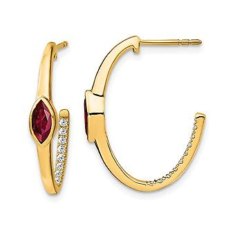 1/2 Carat (ctw) Lab Created Ruby and Diamonds 1/6 Carat (ctw) J-Hoop Earrings in 14K Yellow Gold