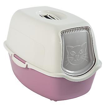 Rotho Bailey Katzenklo mit Haube und Klappe, Kunststoff (PP) BPA-frei, mauve/weiss,  (56.0 x 40.0 x 39.0 cm)