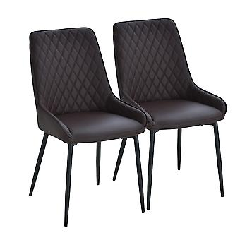 HOMCOM Set Of 2 Quilted PU Leather Dining Chairs w/ Metal Frame 4 Legs Foot Caps Home Seating Modern Stylish Executive Dark Brown