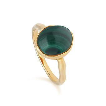 Irregular B Gem Malachite Ring in Yellow Gold Plated Sterling Silver  270R057405925