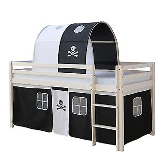 Children's loft single bed with Pirates tent and tunnel