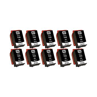 RudyTwos 10x Replacement for Epson 202XLPBK Ink Unit HighYieldPhotoBlack Compatible with XP-6000, XP-6005