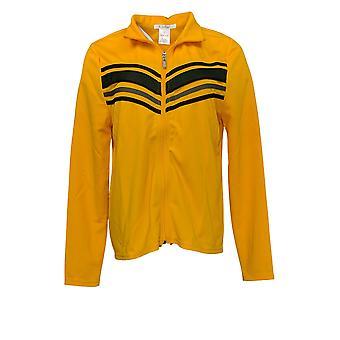 K Jordan Women's Long Slvs Zip Front c/ Striped Detail Jacket Gold Yellow