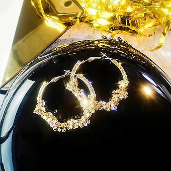 Złote Kolczyki z wieloma kryształami hoop