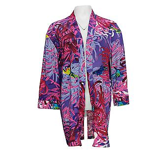 Attitudes van Renee Women's Petite Sweater Lounge Kimono Purple A377499