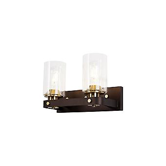 Elsie Wall Lamp 2 Light E27, Brown Oxide/bronze With Clear Glass Shades